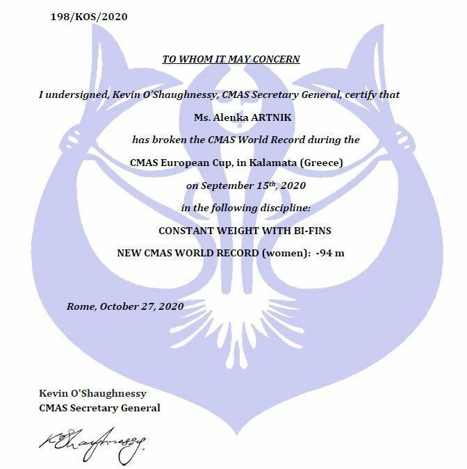 Svetovni rekord Alenke Artnik – bifins